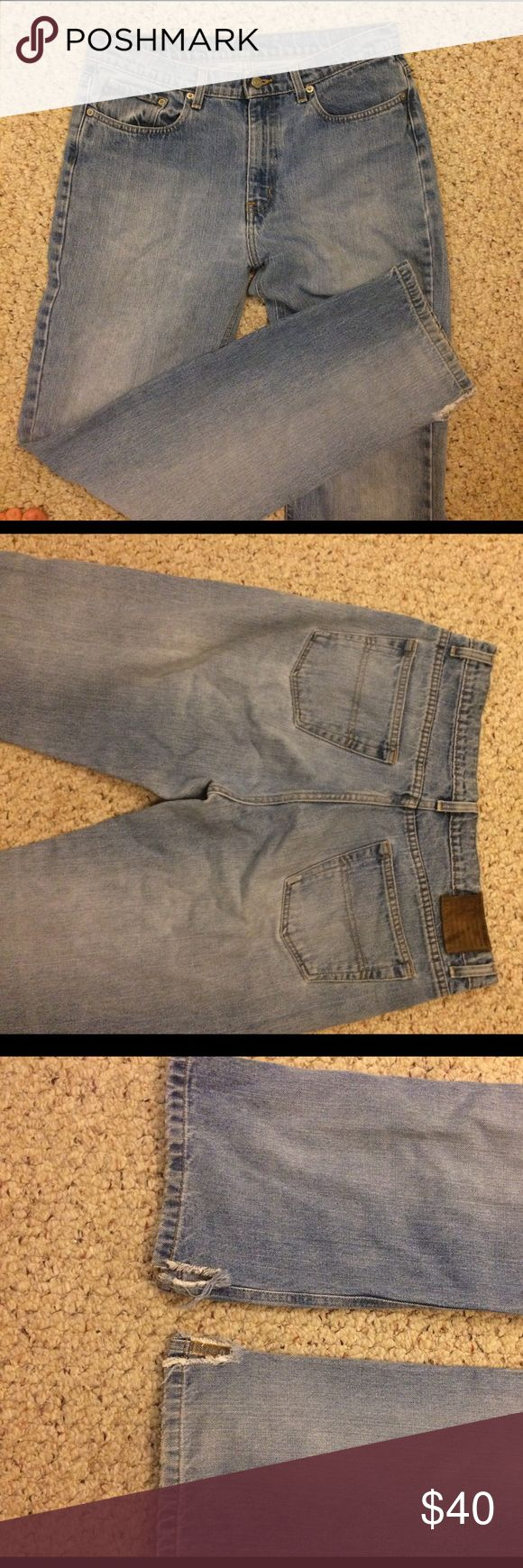 Vintage high-rise jeans Size 12x33 Polo Ralph Lauren jeans. High rise. Light wash. No holes. Cuts on inside of bottom of hem. Great as jeans or could possibly look great as cut off shorts! Polo by Ralph Lauren Jeans Straight Leg