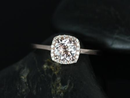 Bella Petite Size 14kt Rose Gold Morganite and Diamond Cushion Halo Plain Band Engagement Ring (Other metals and stone options available)