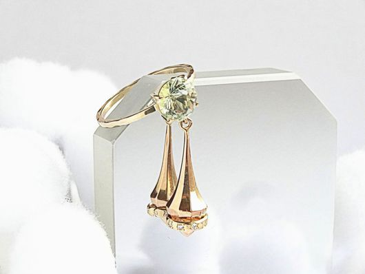 Кольца ручной работы. Ярмарка Мастеров - ручная работа. Купить Золотое кольцо с подвеской, аквамарином и бриллиантами. Handmade. Голубой