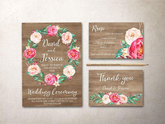 Rustic Wedding Invitation with pink Peonies, Printable Floral Wedding Invitation Set. Bohemian Wedding Ideas. More wedding Stationery at: tranquillina.etsy.com
