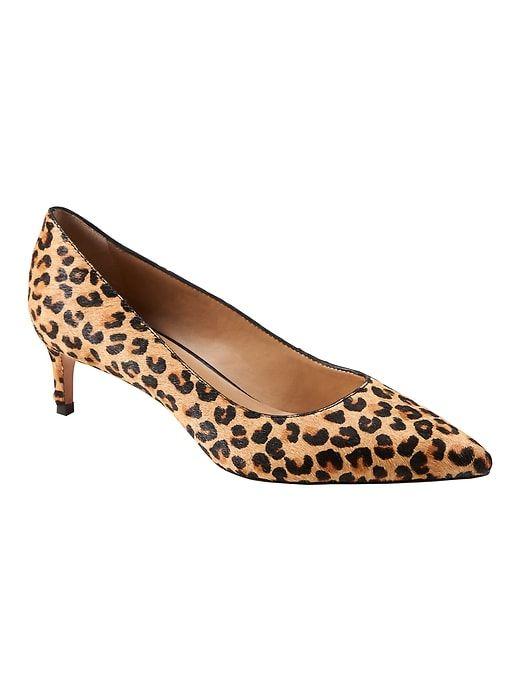 fd4ac598b9b Banana Republic Womens Kitten Heel Pump Leopard Print Haircalf