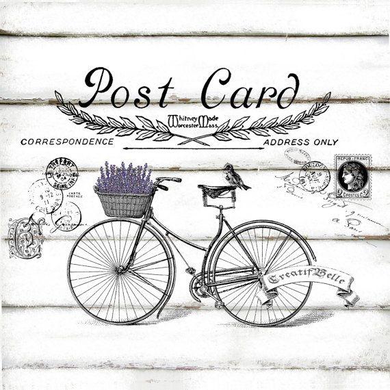 Il sagit dune téléchargement numérique Vintage Bicycle carte postale A4 grande taille    Téléchargement numérique en 300dpi haute résolution JPG et