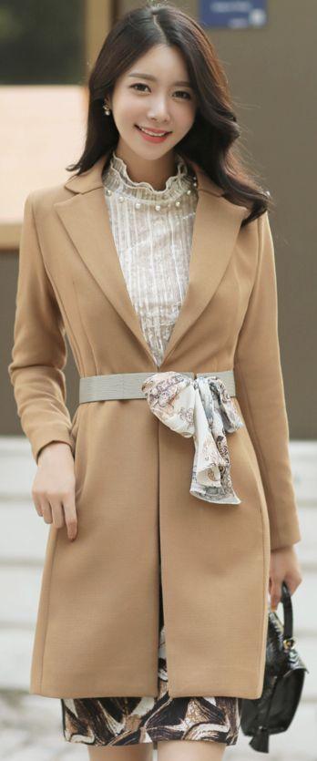 StyleOnme_Scarf Set Slim Fit Long Coat #beige #elegant #coat #koreanfashion #kstyle #kfashion #dailylook #falltrend #seoul