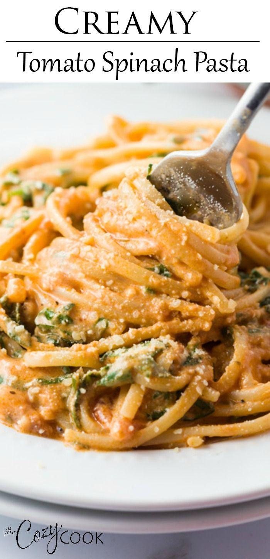 Creamy Tomato Spinach Pasta In 2020 Spinach Pasta Easy Italian Dinner Italian Sausage Pasta