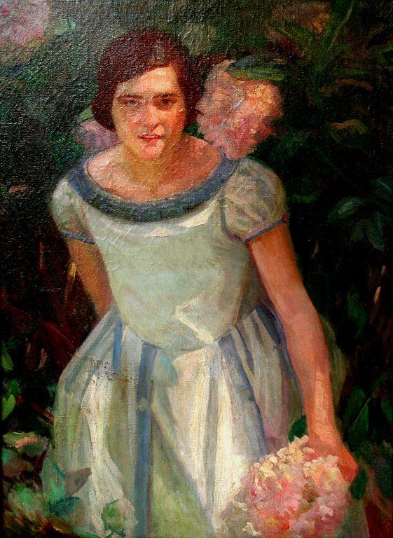Autor: Benito C. Rebolledo   Título: La Niña de las Hortensias Técnica / Material: Óleo sobre tela