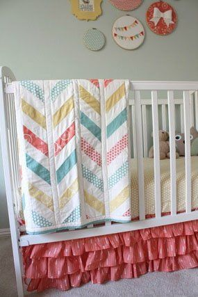 Coral, yellow, teal girl nursery colors, love the ruffle bed skirt  | followpics.co