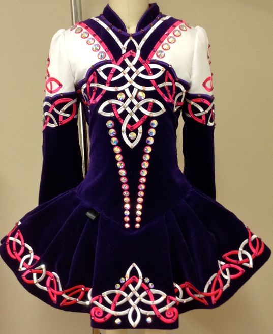 Prime Dress Designs Irish Dance Solo Dress Costume - we love the row of lage sew-on crystals in Crystal AB down the front of this spectacular dress.