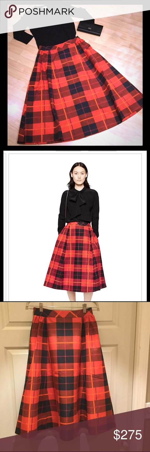 NWT Kate Spade Woodland Plaid Midi Skirt Adorable a-line midi skirt that would be perfect for the Holidays!  Side seam pockets.  Exposed bow back zipper in gold tone.  74% Cotton/ 26% Silk. kate spade Skirts Midi