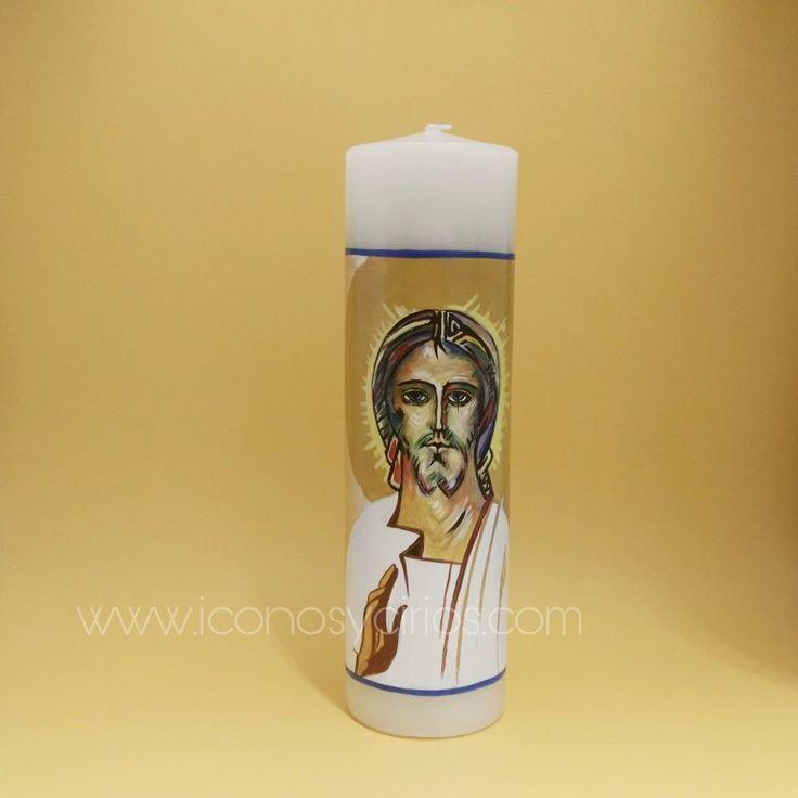 Vela de bautizo. Rostro Transfiguración basado en el icono de Kilo Arguello. Pintado sobre la cera. Y pan de oro