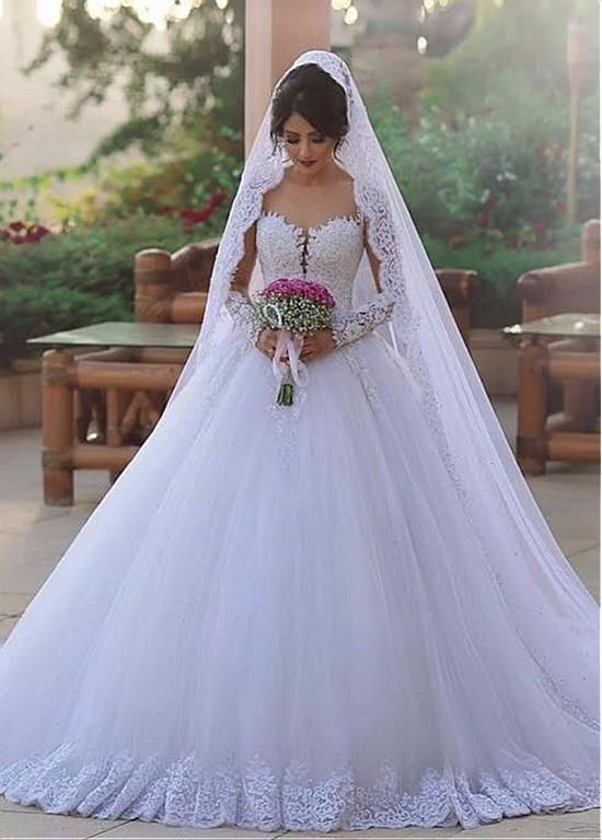 Buy discount Glamorous Tulle Sheer Scoop Neckline Ball Gown Wedding Dress With L…