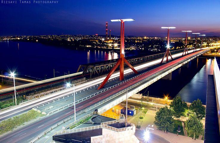 Budapest - Lágymányosi bridge - Rákóczi bridge at BlueHour