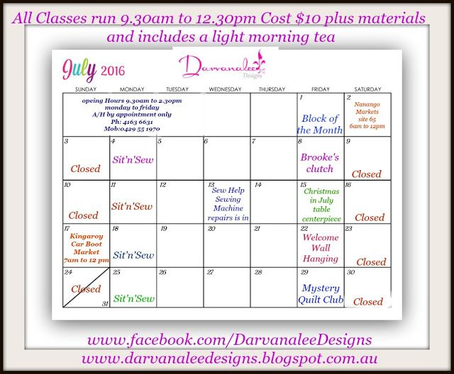 Darvanalee Designs Long Arm Quilting and More: Class Schedule July  2016