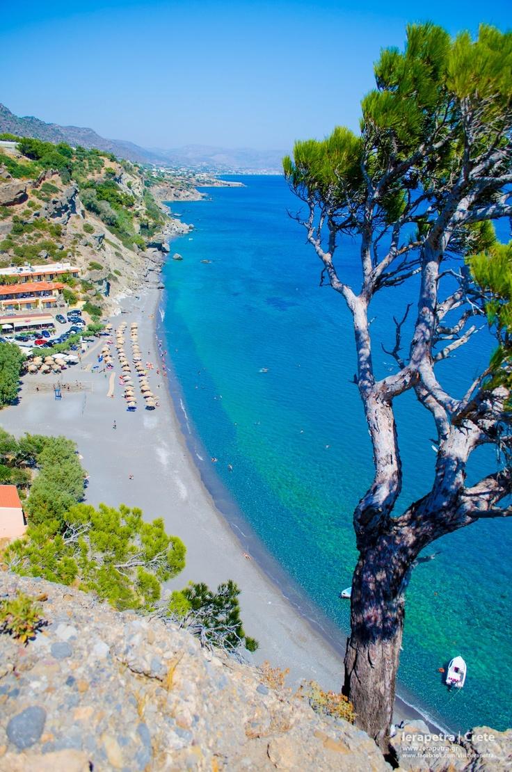 The famous beach of Agia Fotia in Ierapetra.