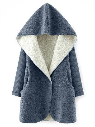 Hooded Fluffy Fleece Coat With Knit Sleeve - GRAY ONE SIZE Mobile