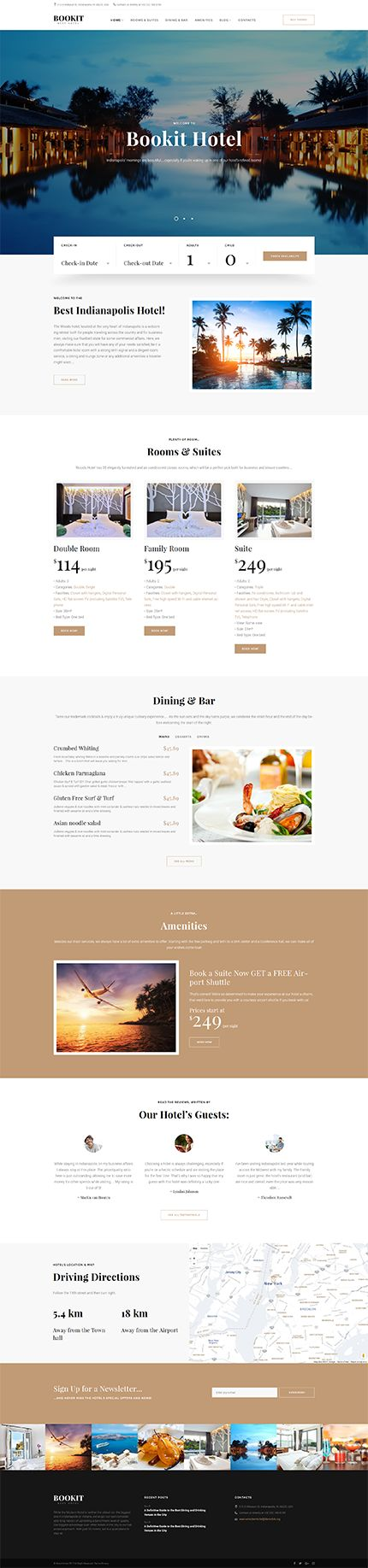 Template 61155 - Bookit - Small Hotel CSS3, HTML5 and jQuery WordPress Theme