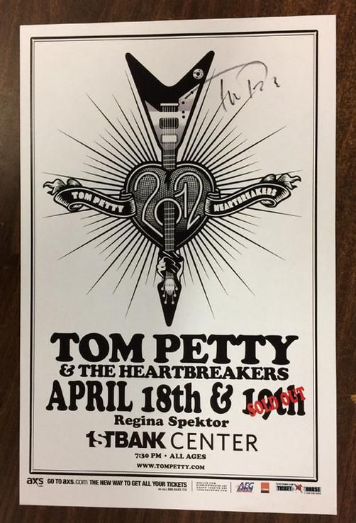 Autographed concert poster for Tom Petty and the Heartbreakers and Regina Spektor at The First Bank Center in Broomfield, CO in 2012. HAND-SIGNED BY TOM PETTY. 11 x 17 inches.  Includes a Certificate of Authenticity.