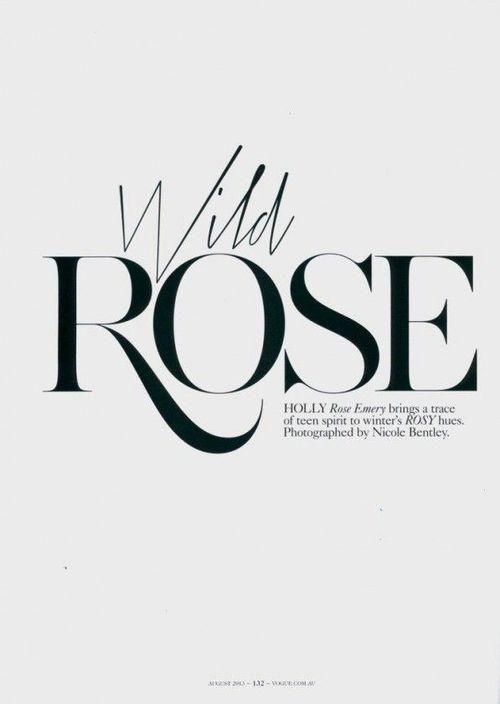 Serif Typography, Vogue Typography, Vogue Australia, Holly Rose, Wild Rose, Vogue Editorial Design, Font Logo, Editorial › Impackage.com