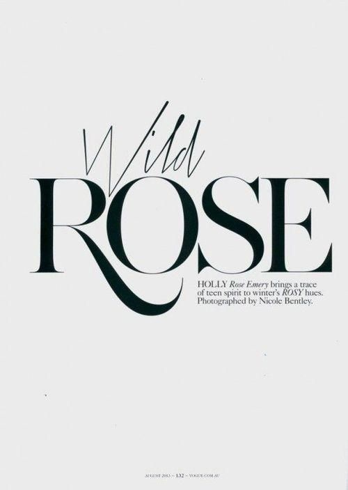 Serif Typography, Vogue Typography, Vogue Australia, Holly Rose, Wild Rose, Vogue Editorial Design, Font Logo, Editorial › Impackage.com