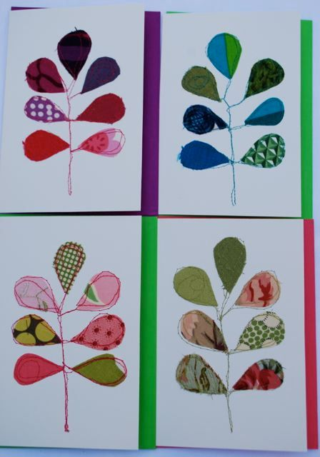 Stitched fabric cards  Frond by SuWolf on Etsy, $4.50
