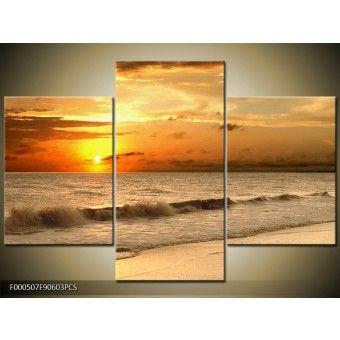 Bézs naplemente vászonkép 90 x 60 cm 3 részes V1