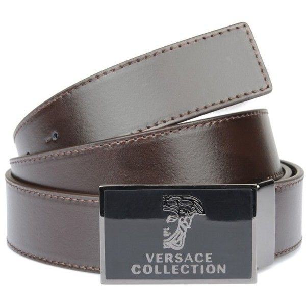 Versace Collection Versace Collection Leather Belt | Bluefly.Com (110 CAD) ❤ liked on Polyvore featuring men's fashion, men's accessories, men's belts, brown, mens brown belt, versace mens belt, mens real leather belts, mens brown leather belt and mens leather belts