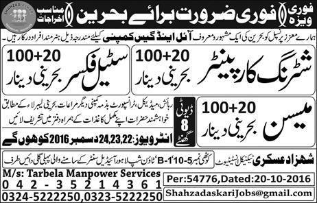 Jobs in Bahrain for Shuttering Carpenter Steel Fixer Mason 21 December 2016
