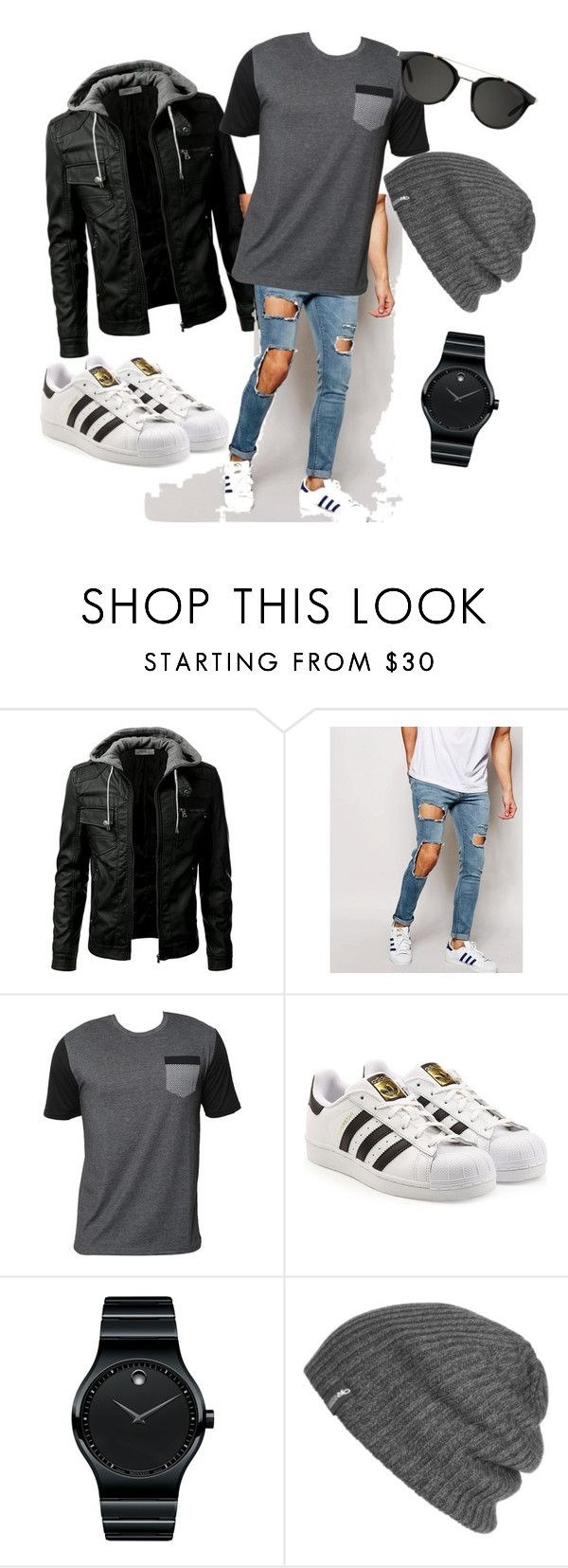 """""""Untitled #4"""" by dominyka-januzyte ❤ liked on Polyvore featuring ASOS, Billabong, adidas Originals, Movado, Outdoor Research, Carrera, men's fashion and menswear"""