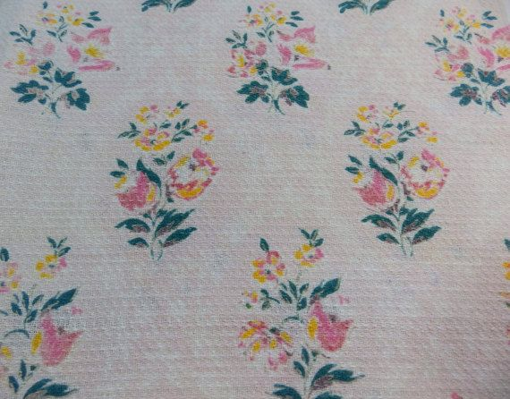 Vintage floral fabric with bunches of flowers by RagRescue on Etsy