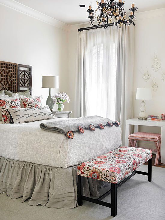 Old meets new in this mixed genre bedroom! http://www.bhg.com/rooms/bedroom/master-bedroom/beautiful-boudoirs/?socsrc=bhgpin011215mixinggenres&page=3