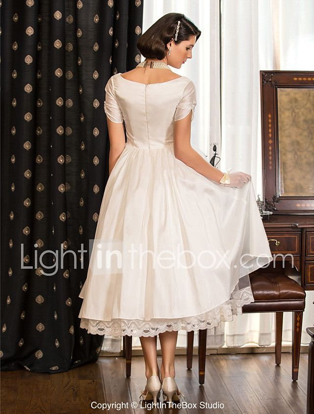 LAN TING BRIDE A-line Princess Wedding Dress - Reception Little White Dress Tea-length V-neck Taffeta with Lace 2017 - $89.99