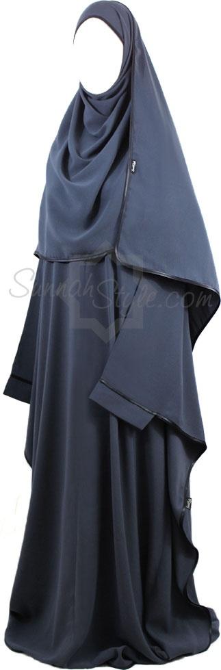 Satin Trimmed Full Butterfly Abaya (Steel Blue) by Sunnah Style #SunnahStyle #farasha #butterflyabaya #abayastyle #satintrim