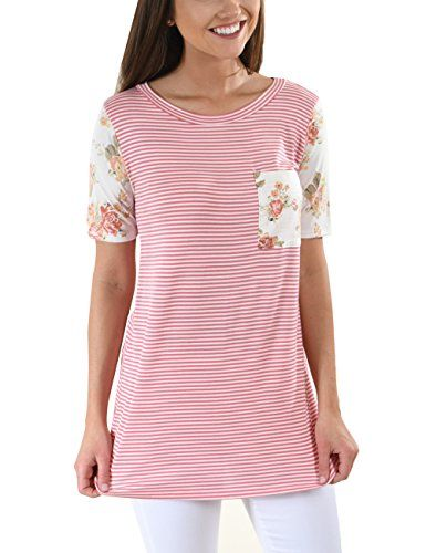 Special Offer: $14.99 amazon.com The Garden Rows Floral Tee is perfect for the sunshine and warm weather ahead! These basic tees have stretch and are as comfy as your favorite pj top! They feature a thin striped design and contrasting floral pocket and sleeve.Size...