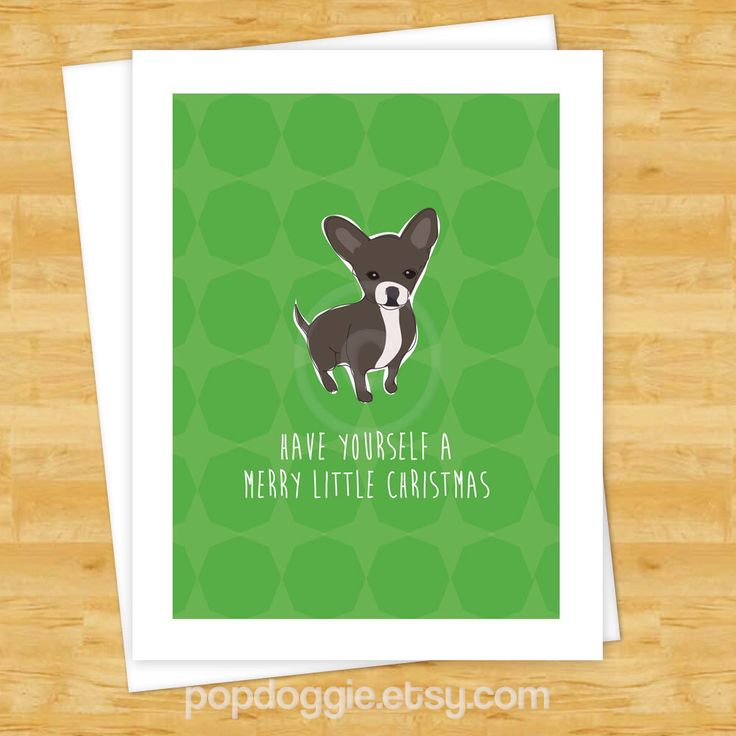 Dog Christmas Cards - Black Chihuahua Have Yourself a Merry Little Christmas - Dog Holiday Cards by PopDoggie on Etsy https://www.etsy.com/listing/162060975/dog-christmas-cards-black-chihuahua-have