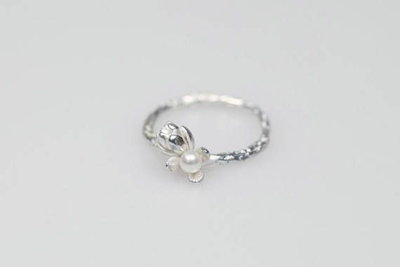 Pearl sterling silver ring oxidized black organic band handmade ring stackable ring size 7 white pearl  jewelry