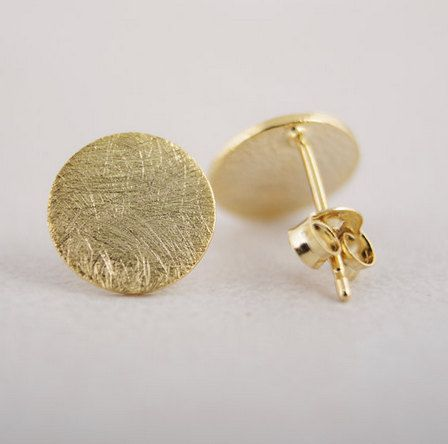 Round Circle Stud Earrings Gold Micro Jewelry by MicroBijoux