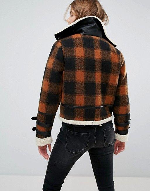 f8a22e6e8cdb New Look Check Bonded Flying Jacket