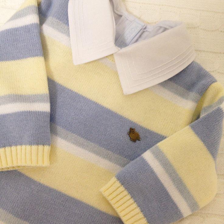 Macacão de tricot e body gola bordada para levar na mala de maternidade para os meninos.