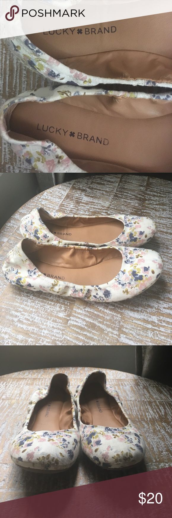 Floral Ballet Flats! Multi-colored ballet flats with navy and Carolina blue, pink, and olive colored florals. I loved them, but they are just a little small for my foot. Practically new, but a little broke in which is great for the next buyer! Lucky Brand Shoes Flats & Loafers