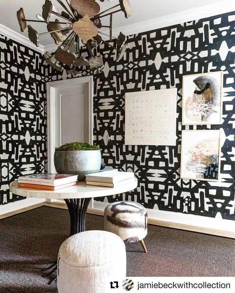82113 Black White Sisal Grasscloth Wallcovering