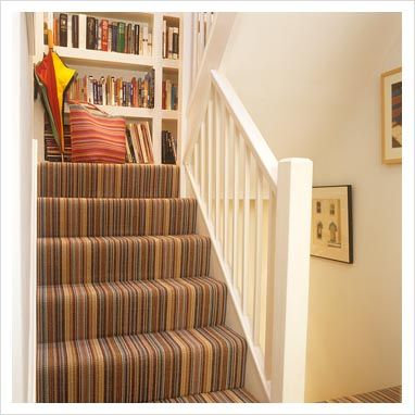 GAP Interiors - Modern staircase with striped carpet - Picture library specialising in Interiors, Lifestyle & Homes
