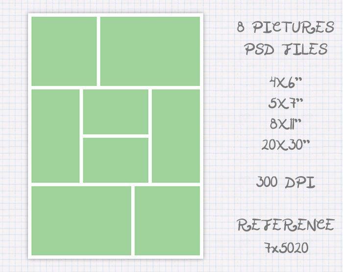 Plantilla foto collage storyboard de 6x4 4x6 7x5 5x7 11x8 8x11 30x20 20x30 pulgadas landscape & portrait (8 fotos) ref 7x5020 de JuanmiDesigns en Etsy