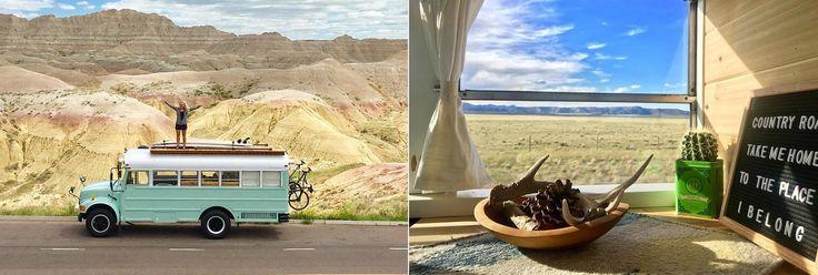 Este+casal+transformou+um+antigo+ônibus+escolar+numa+linda+casa+móvel