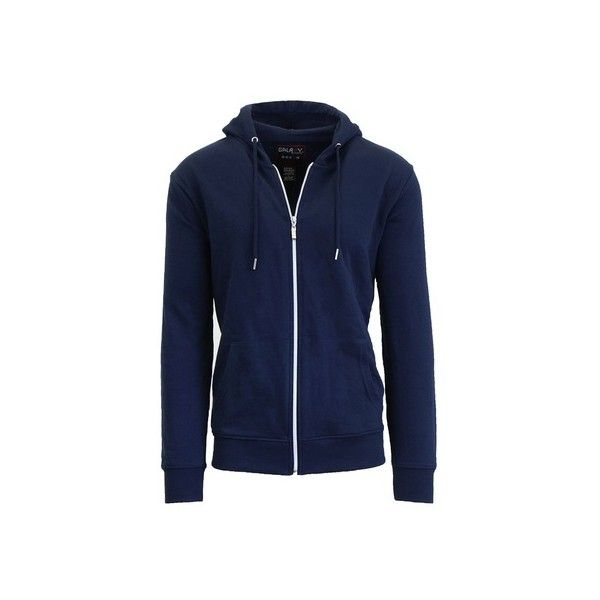 Men's French Terry Zip-Up Hoodie ($50) ❤ liked on Polyvore featuring men's fashion, men's clothing, men's hoodies, mens hoodie, mens hooded sweatshirts, mens zip up hoodie, mens hoodies and mens sweatshirts and hoodies