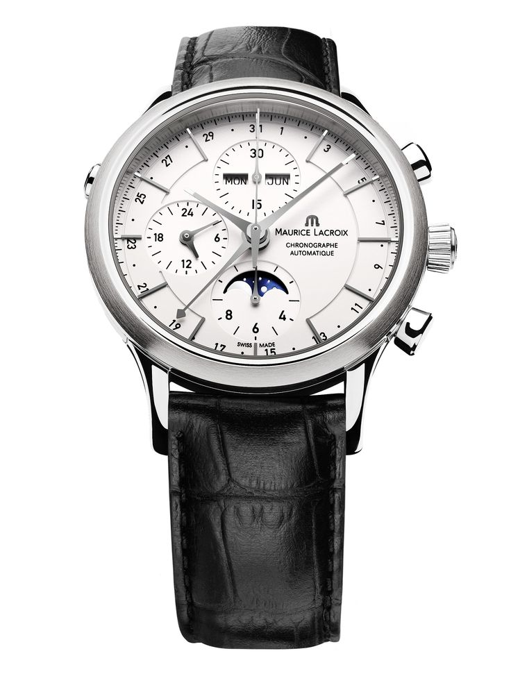 Les Classiques Chronographe Phase de Lune. Featuring automatic movement ML 154, chronograph, moon phases, month, weekday, date, 46h indicator. Case in stainless steel, 41mm. Genuine leather strap. Water resistant to 30m. LC6078-SS001-13E.