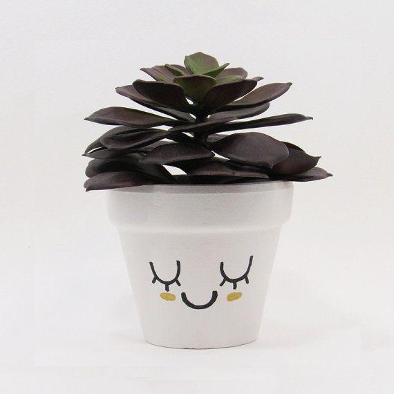 Terracotta Pot Succulent Planter Cute Face by TimberlineStudio