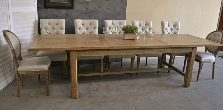 LARGE FRENCH PROVINCIAL STYLE OAK EXTENSION REFECTORY DINING TABLE ~ INDUSTRIAL