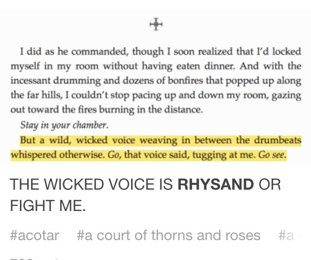 yES<< just a reminder! She doesn't have the tattoo yet, so they don't have that bond yet. But it could still very well be Rhy's.>>LIKE HELL IT ISN'T RHYS!!!