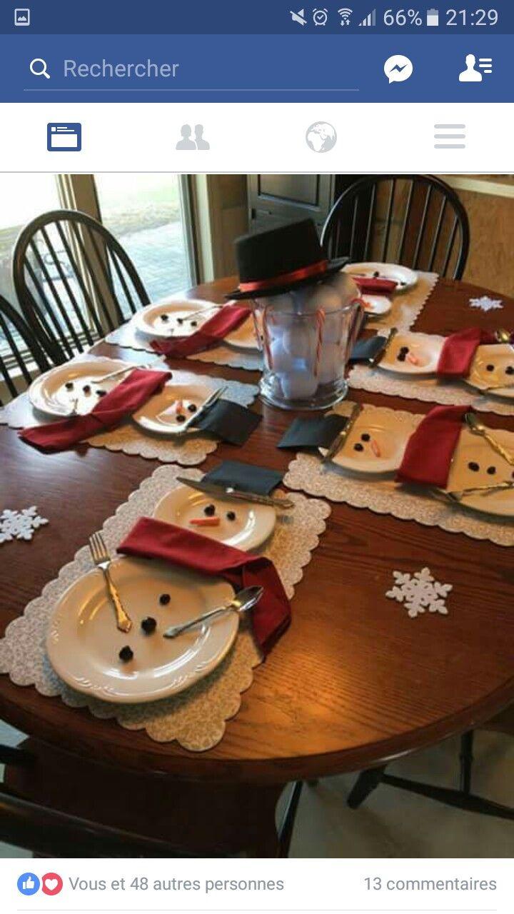 SO cute & clever! Décoration de table de Noël bonhomme de neige