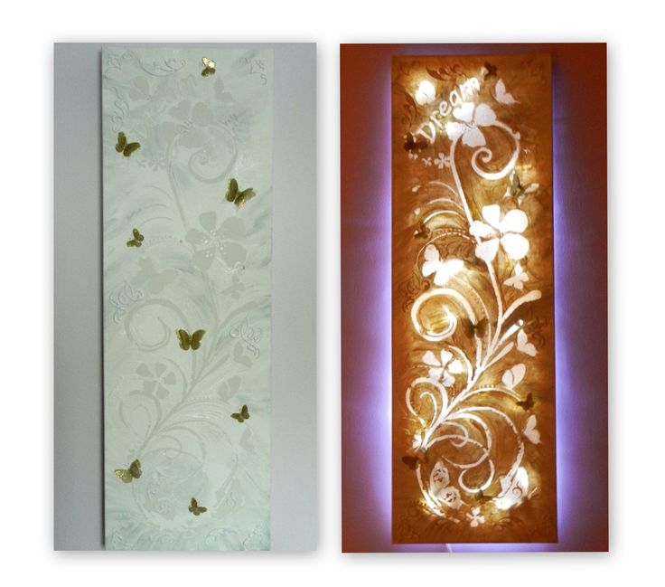 Created using pre-stretched canvas, paper for stencils, white acrylic paint, and LED Christmas lights illuminating from behind. A few glittery butterflies from the craft store, and it makes a great night light for the baby room.