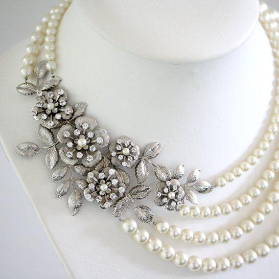 Statement Wedding Necklace MultiStrand Bridal Pearl Necklace Vintage Flower Leaf Necklace Wedding Jewelry LISSE